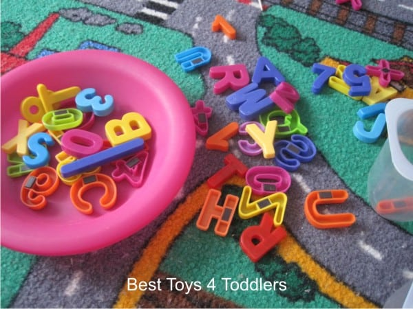 Simple invitation to play for toddlers using magnetic letters and numbers