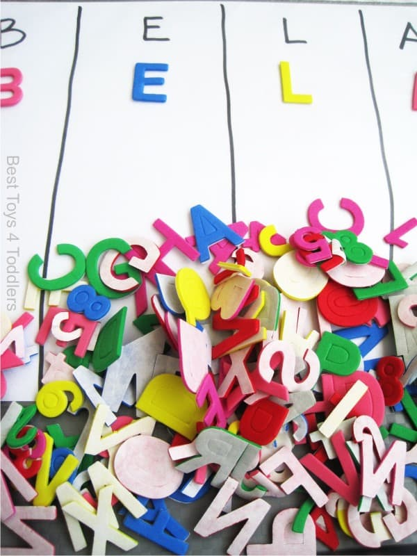 Using Foam Alphabet Stickers for Name Recognition Activity with Toddlers