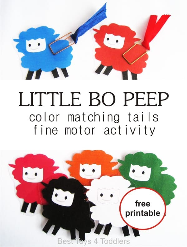 Little Bo Peep nursery rhyme activity for toddlers - color matching tails and fine motor skill activity, free printable with sheep in color and black and white included #freeprintable #coloractivity #finemotorskills #freeprintable