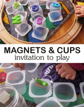 Magnets and Yogurt Cups Play