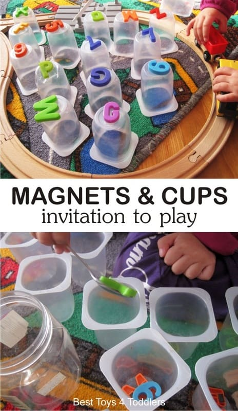 Magnets and Plastic Yogurt Cups - simple invitation to play for toddlers, practice fine motor skills, work on letter, number and color recognition, build awesome city with plastic cups and add