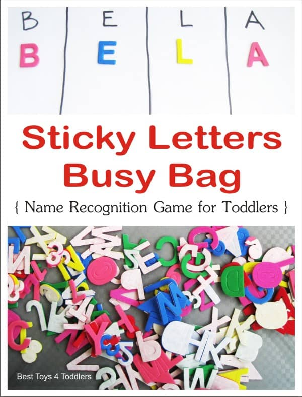 Sticky Letters Busy Bag, easy name recognition game for toddlers
