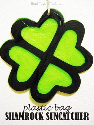 Plastic Bag Shamrock Suncatcher