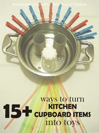 15+ Ways to Turn Kitchen Cupboard Items into Toys
