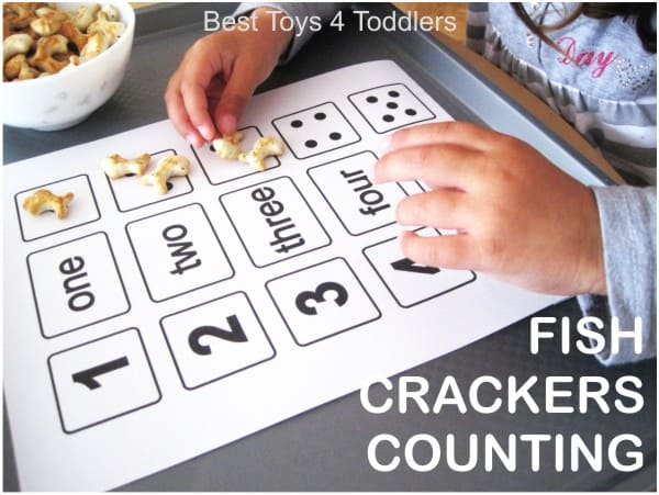 counting numbers one to five with fish crackers