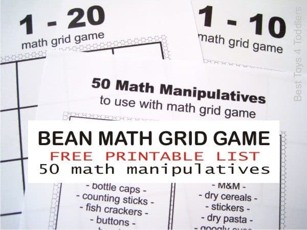 free printable 50 math manipulatives for math grid game to use at home or in school