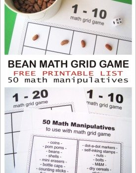 Bean Math Grid Game & List of 50 Math Manipulatives to Use