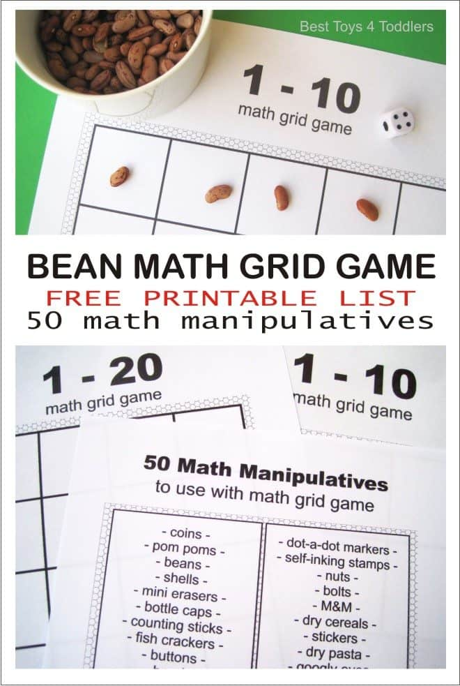 List of 50 math manipulatives to use with printable math grid game #freeprintable #STEM #earlymath #couting
