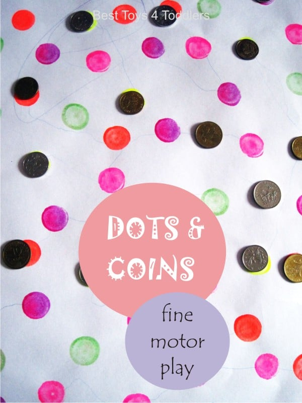 Fine motor skill practice with coins and dots - simple fine motor activity for toddlers and preschoolers