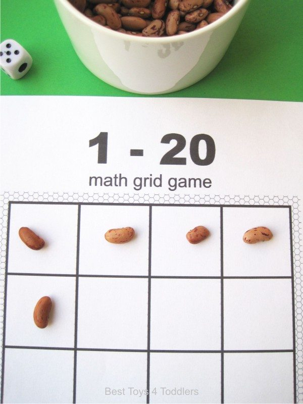 Printable math grid game for counting from 1 to 20, includes list of 50 math manipulative to use with game template