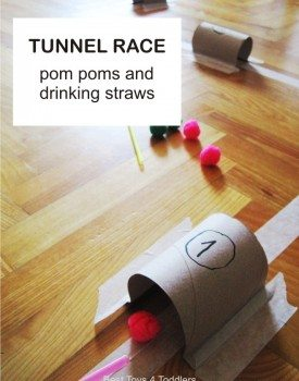 Tunnel Race with Pom Poms