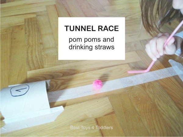 Racing pom poms through tunnels, simple activity for kids to turn around dull rainy day