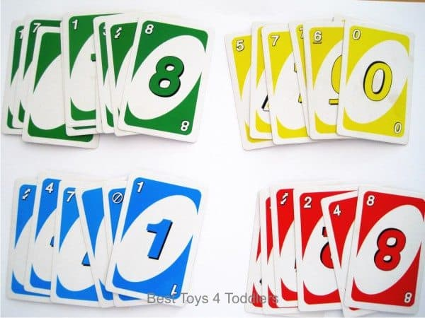 Using uno card game for learning about basic colors