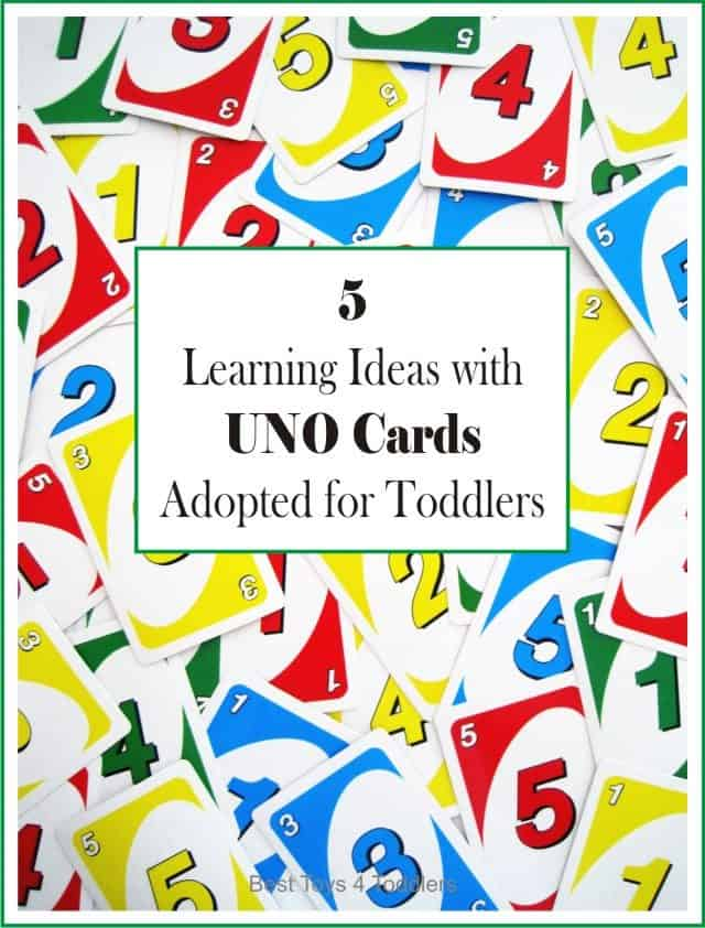 Adapting Uno card game to be used with toddlers to teach them colors, numbers and social skills.