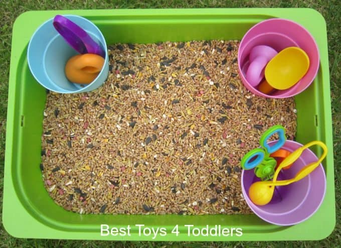 Bird Seed Sensory Bin - simple idea to take outside and play!