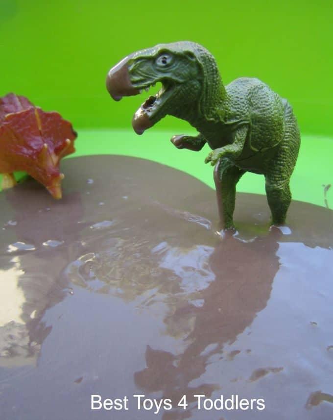 Chocolate dinosaur sensory bin