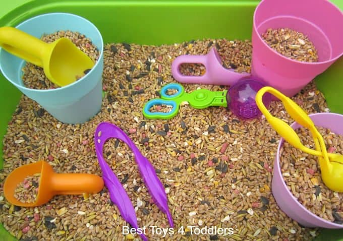 Exploring bird seed sensory play for toddlers