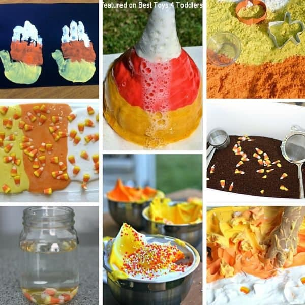 Explore 5 senses with kids and enjoy candy corn sensory play!