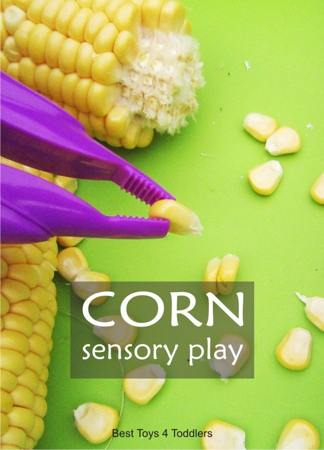 Simple sensory play invitation with corn, exploring different textures and working on fine motor skills