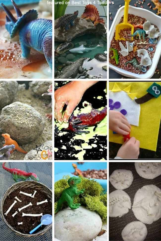 From not messy at all to ultra messy! 33 sensory play ideas to explore with kids and dinosaurs!