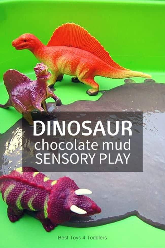 Dinosaur chocolate mud sensory play - give your dinos a chocolate bath!