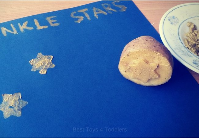 Simple poster to make with toddlers - potato stamped stars. Sing and craft along as you sing Twinkle Twinkle Little Star Nursery Rhyme