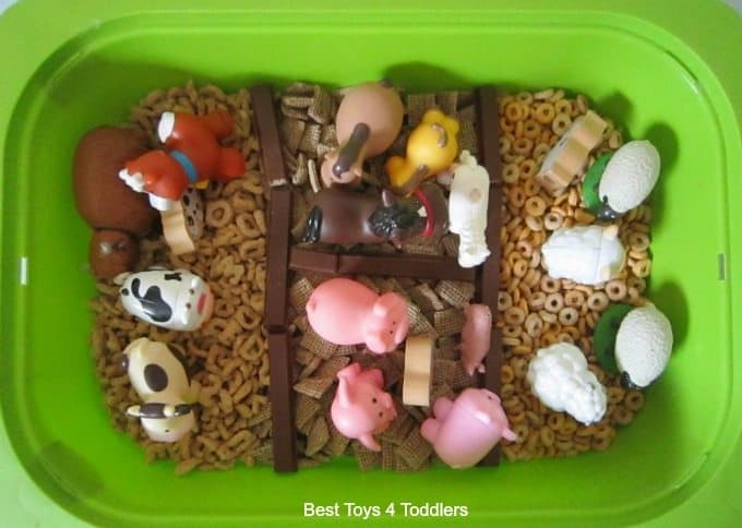Edible farm sensory bin