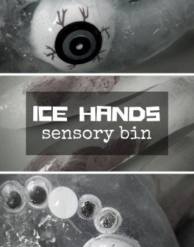 Ice Hand Sensory Bin