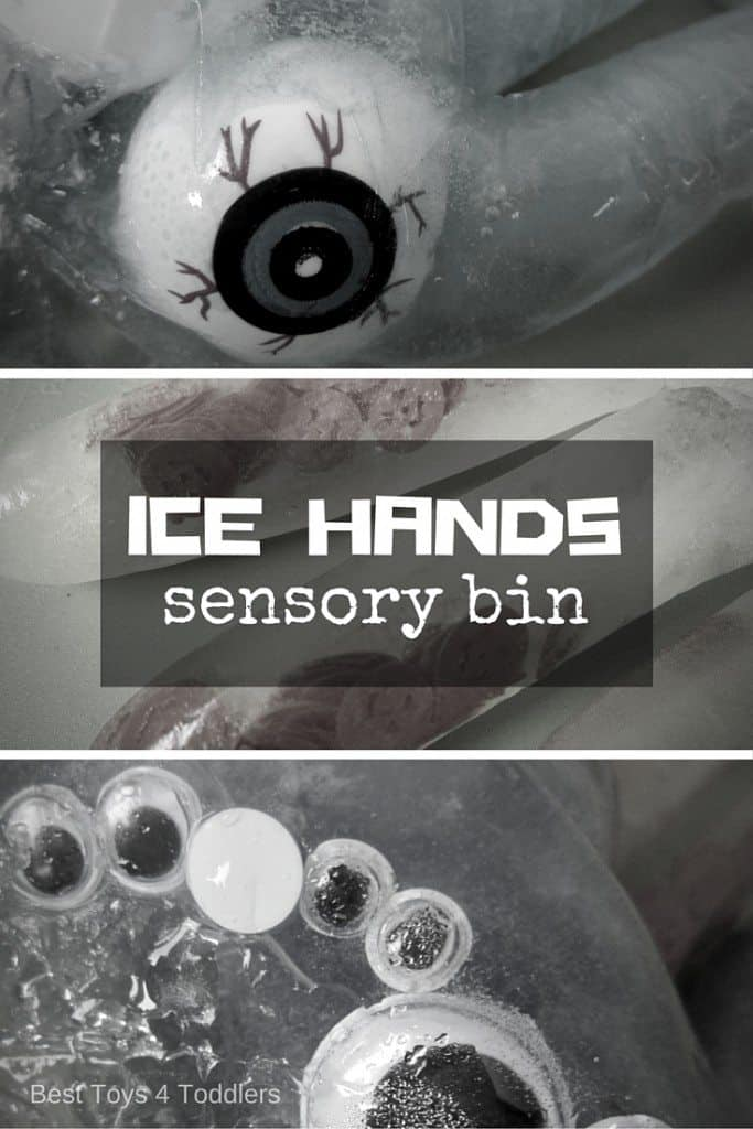 Exploring ice through sensory play - different types of fun manipulatives added to crate fun icy hands.
