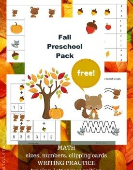 Free Fall Pack for Preschoolers - math practice (counting, clipping cards, sizing), letter recognition, tracing, coloring pages
