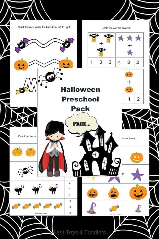 Free Halloween Printable Pack for Preschoolers - counting, letter recognition, tracing, coloring and more to enjoy with kids!