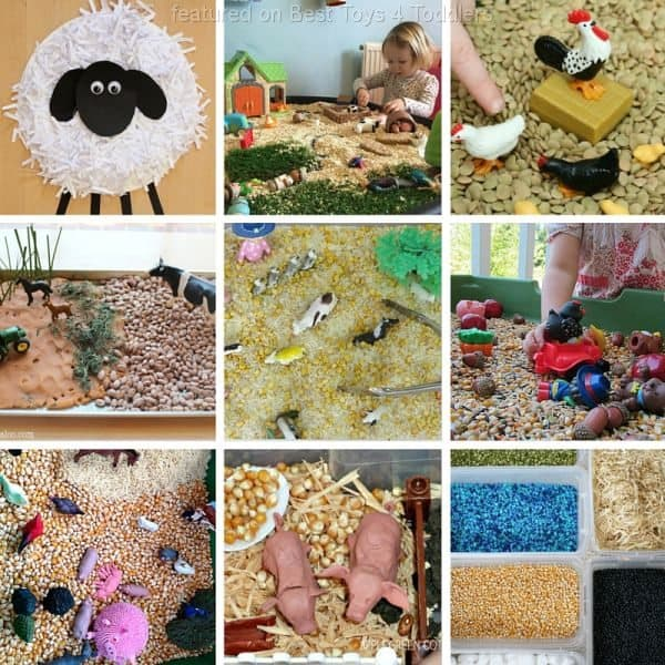 Lean about farm animals through crafts , small world play and sensory bins.