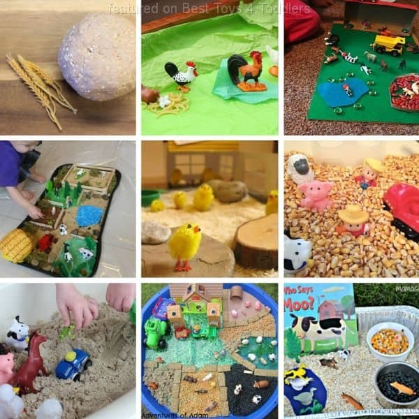 Sensory play ideas for toddlers and preschoolers to use to learn about farm animals.