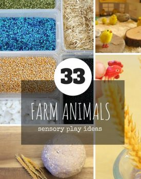 33 Sensory Play Ideas with Farm Animals - perfect for any time of the year, from simple sensory bins and fun crafts to more elaborate small world play.