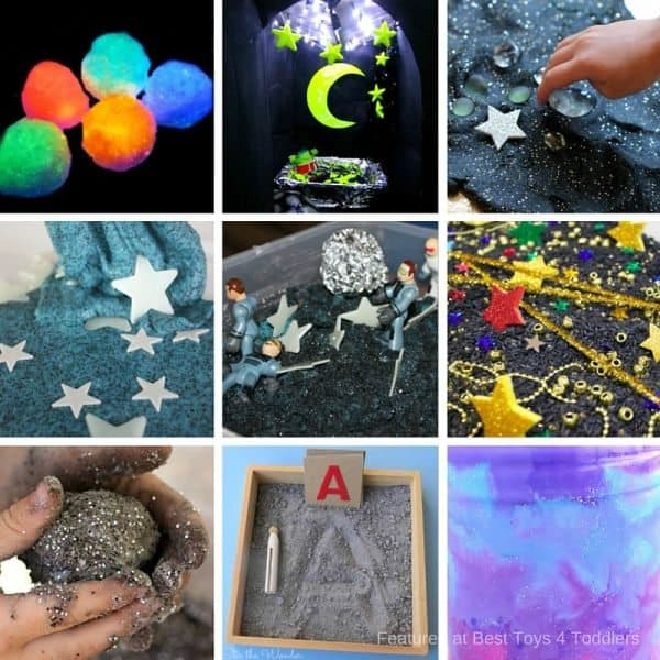 Space themed sensory play - sensory bins, bottles, playdough and slime recipes and more