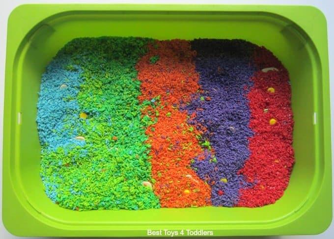 Coloured rice sensory bin