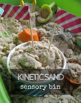 Kinetic sand sensory bin for amazing play experience