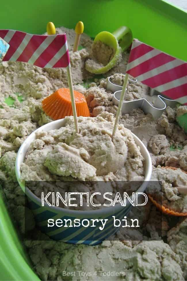 Kinetic sand sensory bin for amazing play experience