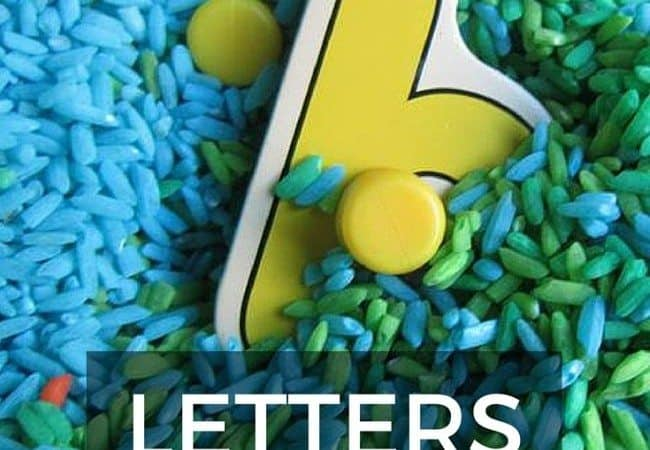 Letters sensory bin - perfect for letter recognition, this simple to set up rice based sensory bin promotes fine motor skills, letter recognition and sensory play all in one. Perfect activity for toddlers and preschoolers.