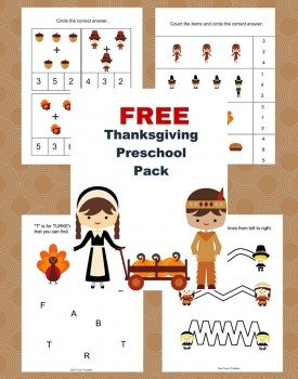Free Thanksgiving Printable Pack for Preschoolers