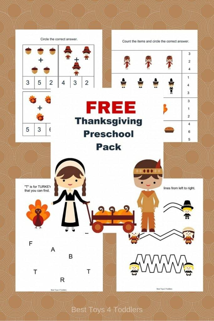 Free Thanksgiving printable pack for preschoolers and kindergarteners - math, prewritting and letter recognition