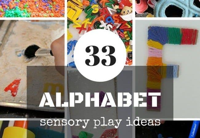 33 ideas to comine sensory play and letter recognition for toddlers, preschoolers and older kids