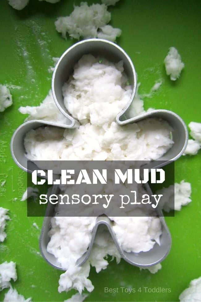 Easy to set up, cheap way to play - clean mud is a fun sensory activity you can do with kids! #sensoryplay #muddyday #toddlers #toddleractivity