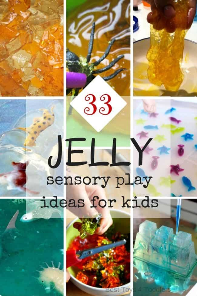 33 Jelly sensory play ideas for kids - awesome for babies and toddlers because jelly is edible!