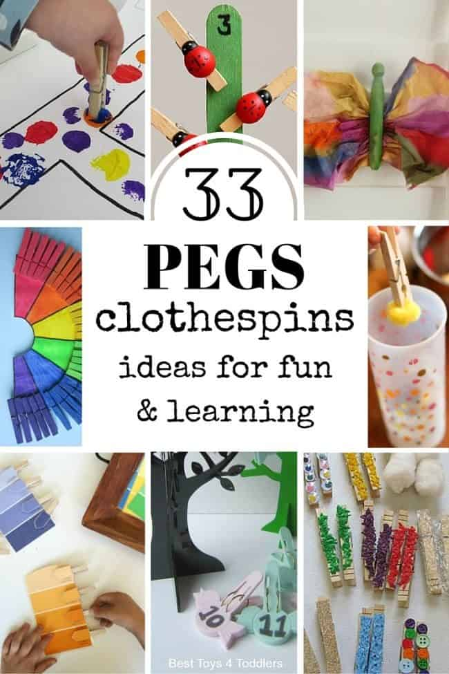 33 ideas how to use clothespins for play, crafts and learning with toddlers and preschoolers.