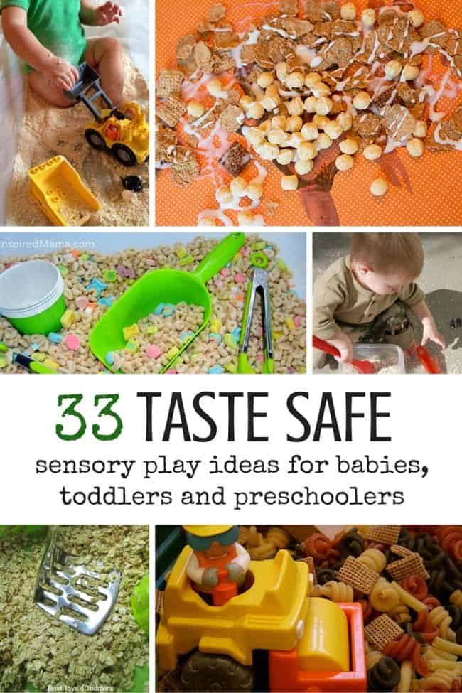 Best Toys 4 Toddlers - Mosty cereal based. edible and taste safe sensory play ideas for babies, toddlers and older kids who still put everything in their mouth.
