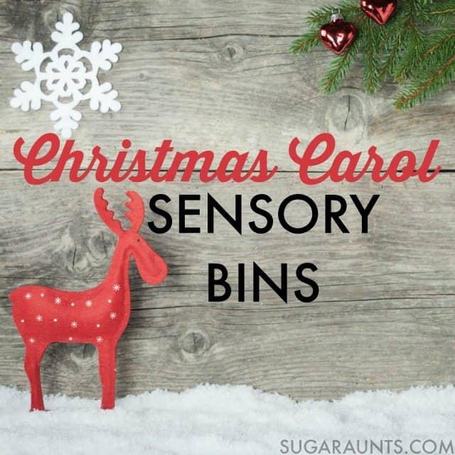 Christmas carols sensory bins