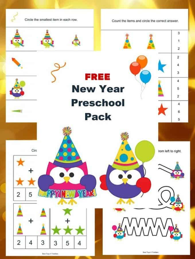 Year after year you can use this Free New Year Printable Pack with your toddlers and preschoolers!