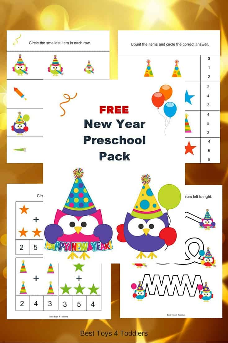 FREE New Year Printable Pack for Tot School and Preschool - New Year Activities For Kindergarten