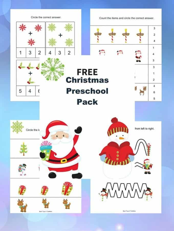 Christmas printable pack for tot school and preschool - FREEBIE - practice math, letter recognition and more!